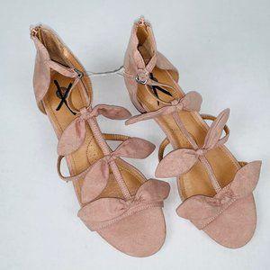 Dress Barn Pink Bow Square Heel Sandals